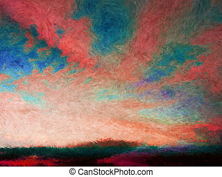 Impressionist skyscape - Colorful impressionist painting of...