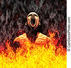 Painted hell - Painted illustration of a screaming man in...