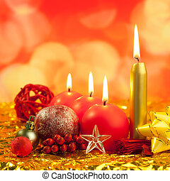 christmas red candles on golden bokeh lights