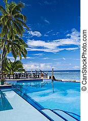 Infinite swimming pool in a beach resort