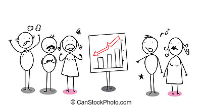 down chart angry businessman