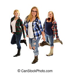 Country Line Dancing Girls - Three Country and Western Line...