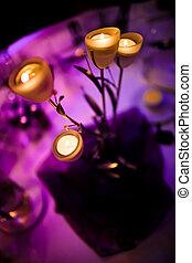 romántico, centro de mesa, velas