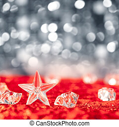 Christmas crystal star on ice cubes