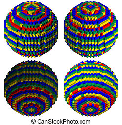 Blocks creating a sphere - blocks creating a colorful sphere...
