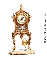 ancient vintage brass pendulum clock isolated on white