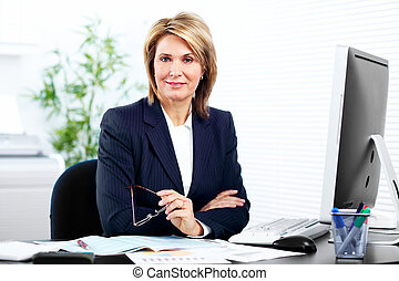 Business woman. - Smiling mature business woman. In a modern...