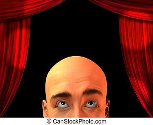 Stage with close up mans head