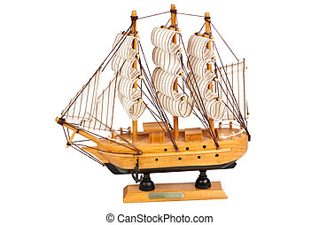 Wooden ship - Miniature wooden model of a ship isolated on...