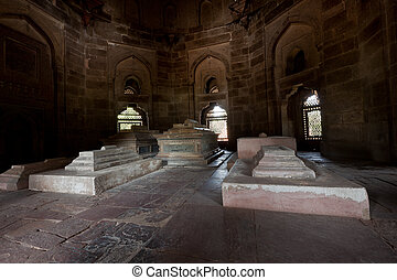 Isa Khan Tomb - Sarcophagi in Isa Khan Tomb in Humayun's...