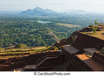 View and ruins on top of Sigiriya rock. Sri Lanka