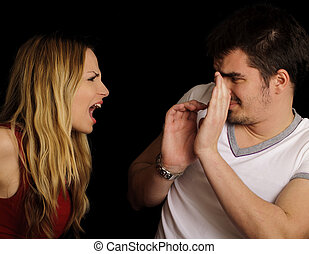 Couple arguing - Young couple fighting