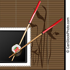 chopsticks and sushi - on the black background with abstract...