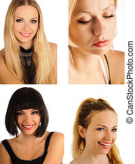 Pretty girl collage - four portrait of beautiful women