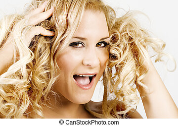 Blond female having a bad hair day - Blond young beautiful...