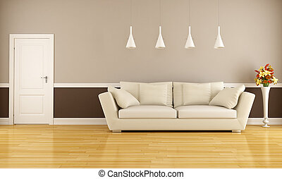 Elegant interior - Beige and brown living room with sofa and...