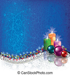 Christmas decorations and candles - Abstract blue grunge...