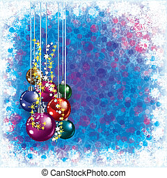 blue greeting with Christmas decorations and snowflakes -...