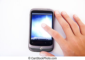 hand on the touch screen phone