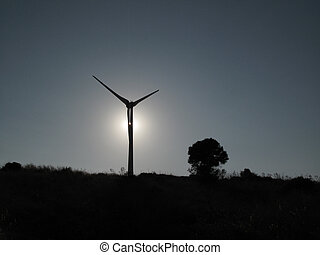 Wind turbine blade in back-light