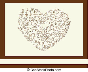 heart floral brown