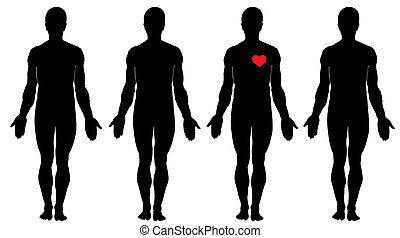 Anatomy of love   - Four men\'s silhouettes and one heart