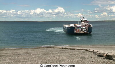 Ferry unloading - Ferry unloading at Strait of Magellan,...