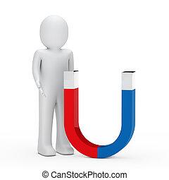 3d man stand next magnet red blue