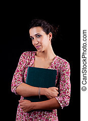 beautiful woman, with documents, isolated on black studio shot