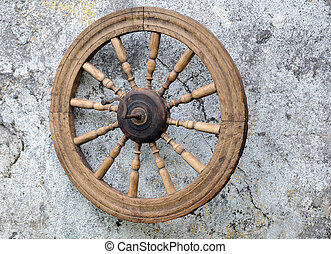 Old Spinning Wheel - Vintage spinning wheel against the...