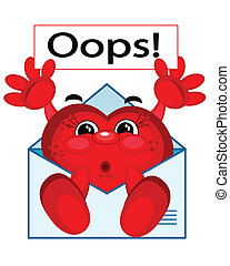 "Heart cartoon in the letter shows ""Oops!\"""