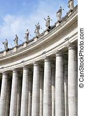 Bernini colonnade - Statues of saints in Bernini's...