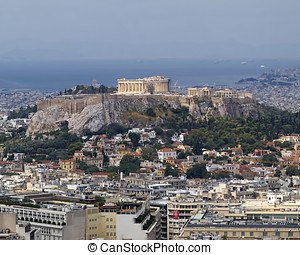 Parthenon on Acropolis Athens Greece - north view of...