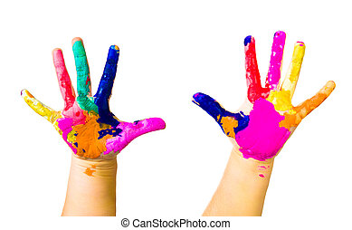 Child hands painted in colorful paints on white