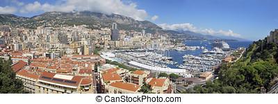 Monaco - Panoramic view of Principality of Monaco. Luxury...