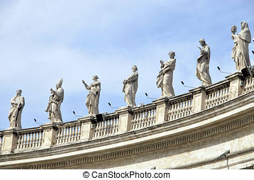 Vatican Statues - Statues of saints in the colonnade Vatican...