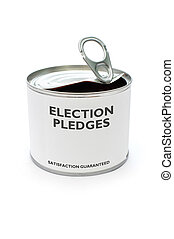 Election pledges printed on a tin can