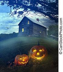 Halloween pumpkins in front of Spooky house - Halloween...