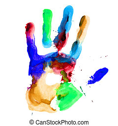Close up of colored hand print. - Close up of colored hand...