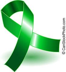 Green awareness ribbon and shadow - Green awareness ribbon...