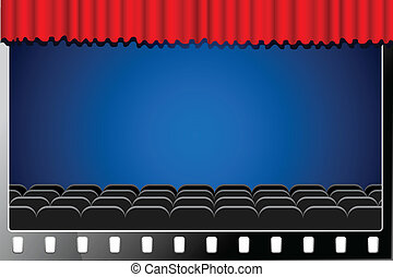 Cinema Screen - illustration of cinema hall with stage...