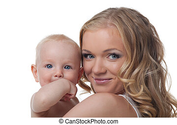 Beauty blond mother with baby look on camera - Pretty young...