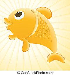 goldfish illustration - Abstract golden fish illustration