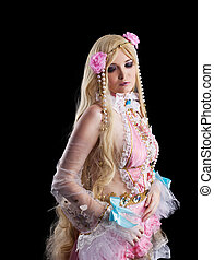 Young girl in fairy-tale doll cosplay costume portrait...
