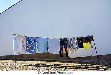 clothing hanging on a rope