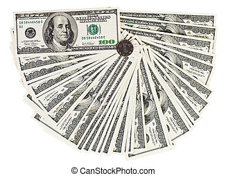 100 USA dollars bank notes fanned out on white with one...