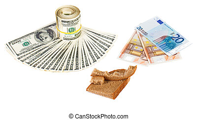 Economy crisis euro currency concept photo with bread crust on white