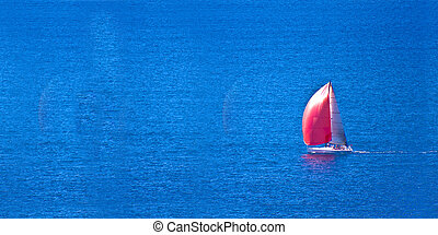 Lonely Sailing - Red sailboat on the blue ocean