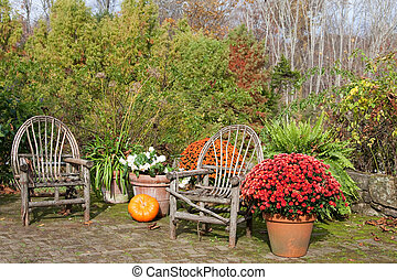 New England Autumn - Outdoor living in the fall with rustic...