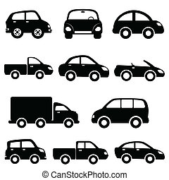 Car and truck icon set - Various models cars and trucks icon...